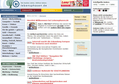 Screenshot Lebensphasen